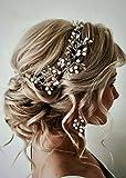 FXmimior Bride Hair Accessories Crystal Hair Vine Earrings Sets Headband Wedding Hair Comb Evening Party Hair Piece (silver) (headbandearrings)