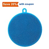 Silicone Washing Sponge,Zolove Antibacterial Silicone Dish Scrubber Fruit and Vegetable Washing Brush Round Scrubber Pad Multipurpose Silicone Dishwashing Tools For Kitchen(Blue)