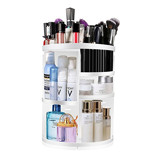 KABB Makeup Organizer, 360-Degree Rotating Adjustable 7 Layers Multi-Function Cosmetic Storage Box with Top Tray, Compact Size with Large Capacity (White)