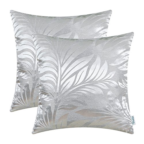 (CaliTime Pack of 2 Throw Pillow Covers Cases for Couch Sofa Home Decor Shining & Dull Contrast Tropical Fern Leaf 18 X 18 Inches Silver Gray)
