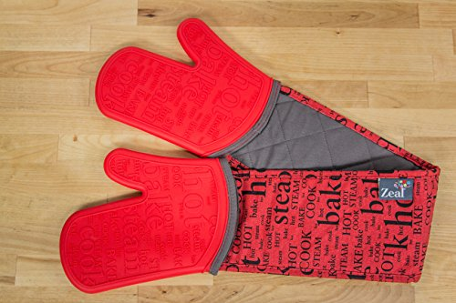 ZEAL Double Steam Stop Waterproof Silicone Oven Glove (Red) by Zeal (Image #1)'