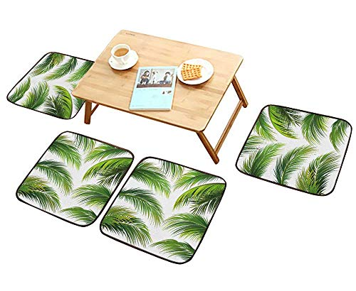 (HuaWu-home Comfortable Chair Cushions Palm Leaves Isolated on White Reuse can be Cleaned W17.5 x L17.5/4PCS Set)