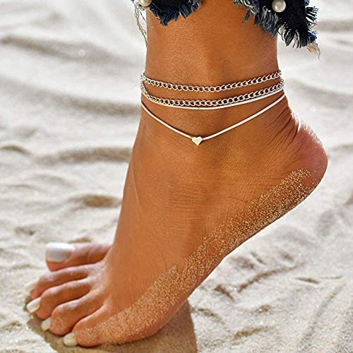 Foot Bracelets for Women Beach Ankle Love feet Jewelry for Women ,Summer Women Plated Anklet ,Real Silver Anklets for Women