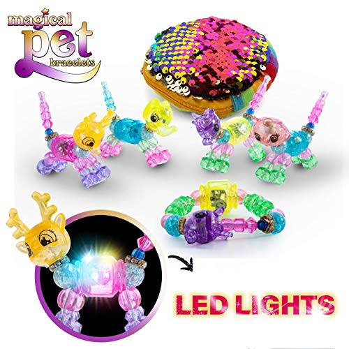 Twisted animal bracelet toy set DIY Kids Jewelry Craft Set LED Light Children's Bracelet Collectible Accessory Set for Girls Multipack Beaded Animal Figurine Bracelet with built in LED and Sequin Ba