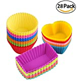 easy bake cupcake wrappers - Silicone Baking Cups Muffin Cupcakes Liners Molds Sets in Storage Container-28 Pack