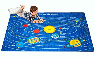 "Kids Area Rug Solar System 3"" X 5"" Children Area Playroom & Nursery Non Skid Gel Backing"