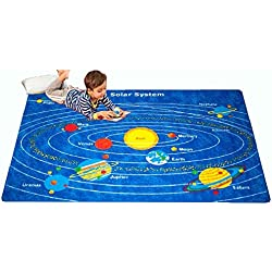 "Mybecca Kids Area Rug Solar System 3"" X 5"" Children Area Playroom & Nursery Non Skid Gel Backing"