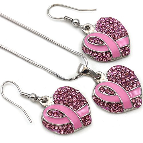Breast Cancer Awareness Month Pink Ribbon Heart Necklace Pendant Charm Dangle Drop Earrings Set