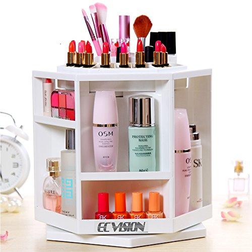 ECVISION Makeup Organizer Large Capacity 360°Rotating Acrylic Cosmetics Storage/Revolving Makeup Organizer/Cosmetics Storage Case (White) …