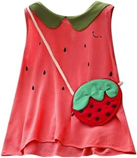 ☺HWTOP Wassermelone Kleider + Tasche Set Kleinkind Kinder Baby Mädchen Sommerkleid Ärmellos Niedliche Kleid Umhängetasche