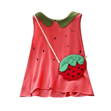 21a13f480768 NUWFOR Toddler Kids Baby Girls Summer Dress Sleeveless Cute Watermelon  Dresses+Bag Set(Red