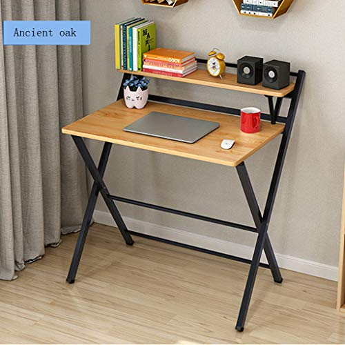 Folding Desk, Study Desk Computer Table For Small Space Home Office Desk Simple Laptop Writing Table Brain Table Free Installation lkoezi (80x50x72.5CM, Khaki) (More Brains A Return To The Living Dead)