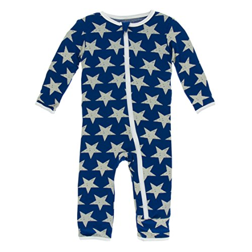 Kickee Pants Little Boys Print Coverall With Zipper - Vintage Stars, 9-12 Months - Kickee Pants Coveralls