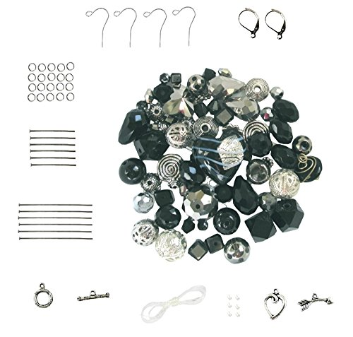 (Jet Black ~ Metallic Grey ~ Silver Tone Bead & Finding Kit (Z605))