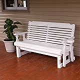Amish Heavy Duty 800 Lb Classic Pressure Treated Porch Glider With Cupholders (5 Foot, Semi-Solid White Stain)
