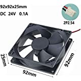 Gdstime 92mm x 92mm x 25mm 0.16A 24V DC 45 cfm Brushless Cooling fan