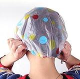 Hosaire Shower Caps 6 Count Elastic Waterproof Bath Cap Plastic Bathing Hair Cap Lady Salon Hat