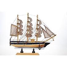 Retro Vintage Wooden Sailboat Sailing Boat Model Home Decor Office Desk Display Gift Choice (24 * 7* 24cm)