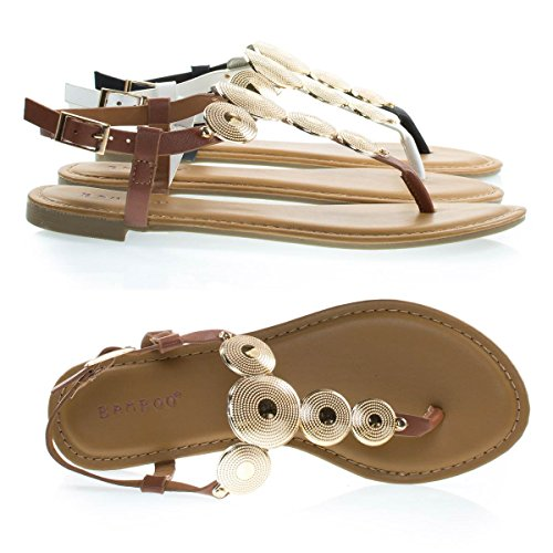 Vrouwen Geraffineerde Platte String Sandaal W Metalen Medaillon Munt W Enkelbandje Kastanje
