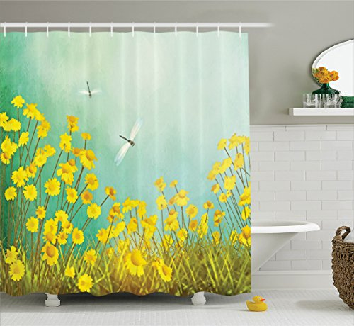 Dragonfly Green (Country Decor Shower Curtain Set By Ambesonne, Flourishing Artistic Landscape With Daisies On The Grass And Dragonflies In The Air, Bathroom Accessories, 69W X 70L Inches, Green Yellow)