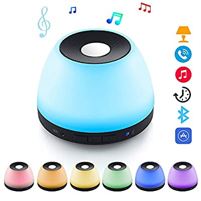 Led Night light Bluetooth Speaker ,Table Lamp LED Bedside Lamp ,Hi-Fi Remote Controlled by iOS/Android Cell Phone,Perfect for Party, Home Enjoyment,Guests Entertaining, Outdoor Travel by Hommate
