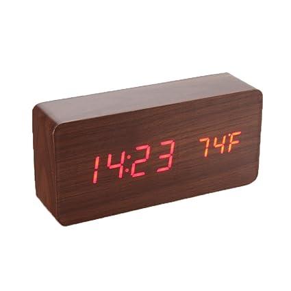 Despertador reloj digital LED de madera, (pantalla fecha hora y temperatura, rectangular Touch