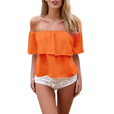 41627de0ea8 Mercu Women Off Shoulder Chiffon Boat Neck Tops Casual Beachwear Summer  Blouse at Amazon Women s Clothing store