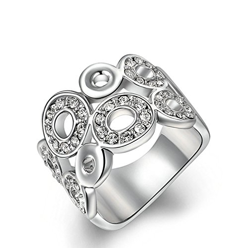 Yoursfs 18k Gold Plated Promise Rings Unique Cubic Zirconia Open Circle Design (white-gold-plated-silver, 7)