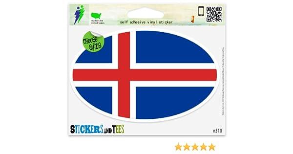"""Iceland Flag oval car window bumper sticker decal 5/"""" x 3/"""""""