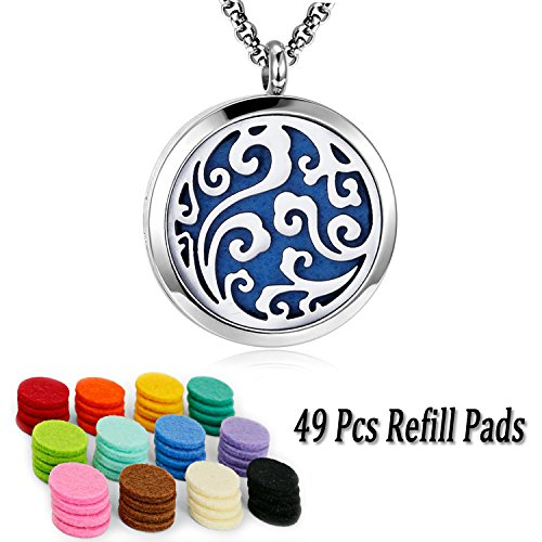 Essential Oil Diffuser Family Tree Necklace Stainless Steel Aromatherapy Diffuser Locket 9 Refill Pads (Family diffuser necklace) (Religious Necklace Locket)