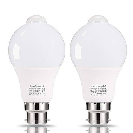 (2 unidades) Sensor de movimiento luz bombilla, luohaoshi B22 9 W LED,