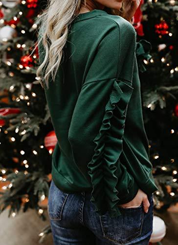 et Pullover Simple Hauts Jumpers Vert C Sweaters Printemps shirts Blouse Jeune Fashion Shirts Fashion Shirts Manches de Sweat Sweat Casual Pulls Tops Feuille t Rond Automne T Col Longues Lotus Femmes qxrxI6Cw7