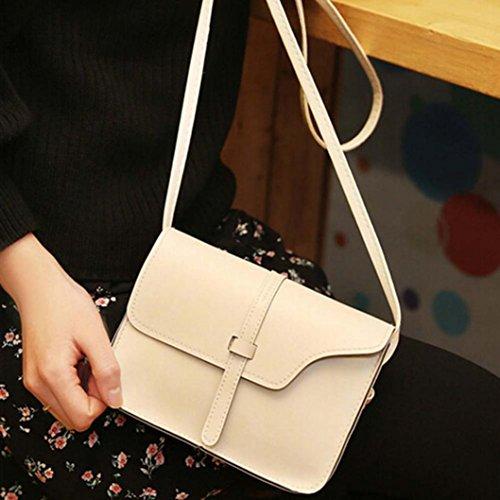 Vintage Crossbody, AgrinTol Vintage Purse Bag Leather Crossbody Shoulder Messenger Bag (Beige) by Agrintol_Fashion Bags (Image #2)