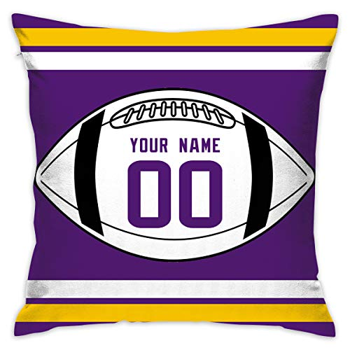 AEIUWjeIET Throw Pillow Covers Home Minnesota Vikings Pillows Cases Couch Covers Decoration 18 X 18 Inch for Home Sofa Bedding