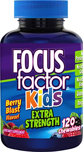 Brain Nutrients (Focus Factor Kids Extra Strength Complete Vitamins: Multivitamin & Neuro Nutrients (Brain Function), Vitamin B12, C, D3, 120 Count, 60 Day Supply)