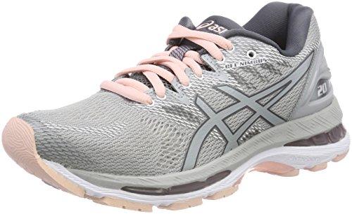 Asics Gel-Nimbus 20, Zapatillas de Running para Mujer Gris (Mid Grey/Mid Grey/Seashell Pink 9696)