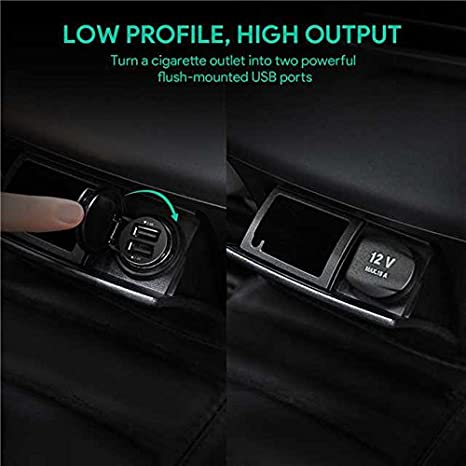 ULTRA KOMPAKT 24W AUKEY USB Kfz Ladeger/ät Dual USB AutoLadeger/ät mit AiPower Technologie f/ür iPhone X // 8 // 8 Plus // 7 HTC iPad Air // Pro // mini Schwarz LG und andere Ger/äte 5V // 4,8A