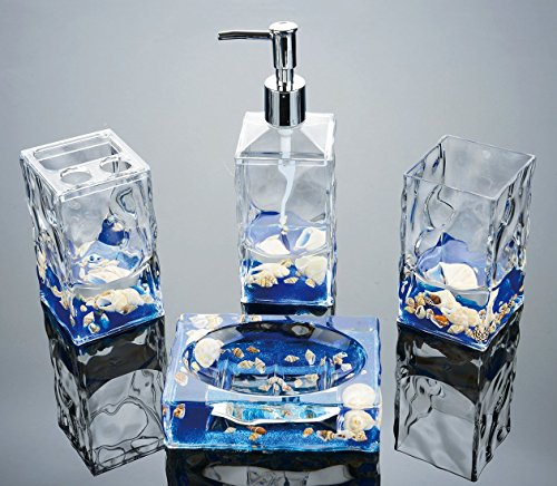 Yeti Decor 4-Piece Acrylic Liquid 3D Floating Motion Bathroom Vanity Accessory Set -Shell