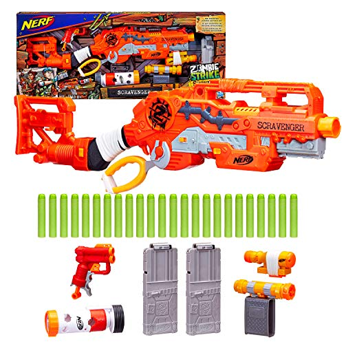 Scravenger Nerf Zombie Strike Toy Blaster with Two 12-Dart Clips, 26 Darts, Light, Barrel Extension, X 40Mm, Stock, 2-Dart Blaster - For Kids, Teens, (Best Nerf Attachments)