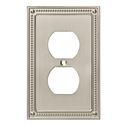 Duplex Outlet Triple Toggle Switchplate - Franklin Brass W35059-SN-C Classic Beaded Single Duplex Wall Plate/Switch Plate/Cover, Satin Nickel