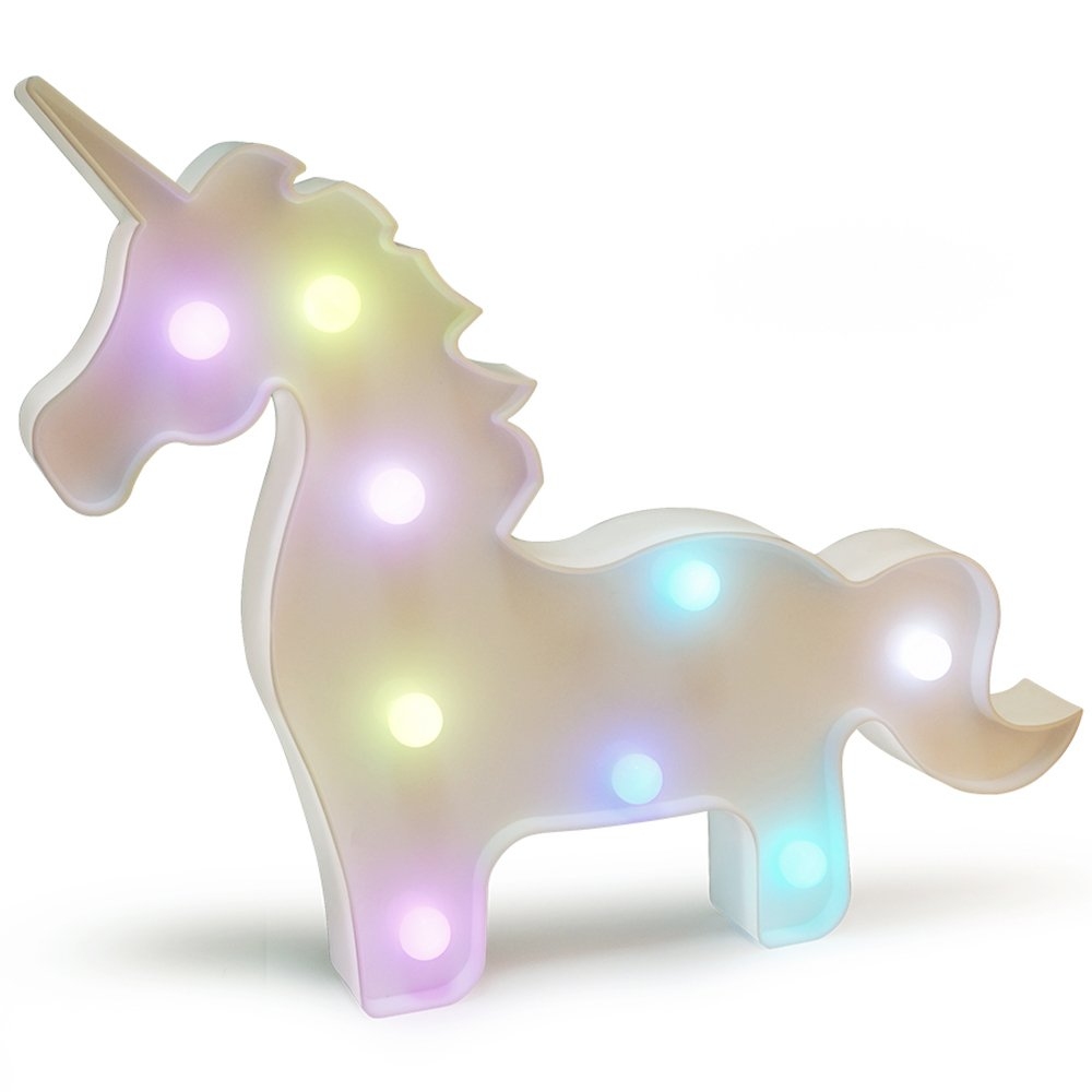 KiBlue Unicorn Light Unicorn Party Supplies Colorful Unicorn Lamp Battery Operated Unicorn Table Lamp Light Party Supplies-Wall Decoration Kids' Room,Living Room,Bedroom (Colorful Unicorn Shape)