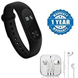Drumstone Bluetooth Smartband Wristband Pedometer, Fitness, Activity Tracker, Heart Rate Monitor With Stereo Earpod With Mic And Volume Controller 3.5Mm Jack Compatible with Xiaomi, Lenovo, Apple, Samsung, Sony, Oppo, Gionee, Vivo Smartphones (One Year Warranty)