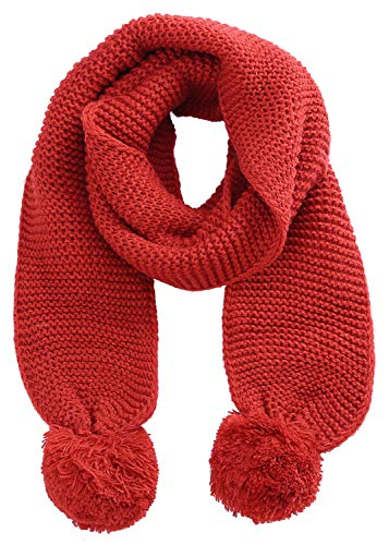 - SUNNYTREE Women's Pom Pom Scarfs Winter Warm Thick Knit Red