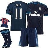 Barcelona Kids Jersey 2015/2016 #11 Bale Away Blue Soccer Kit Real Madrid football Jersey & Shorts & Socks &Free Key Chain & Free Face cloth kids boys youth