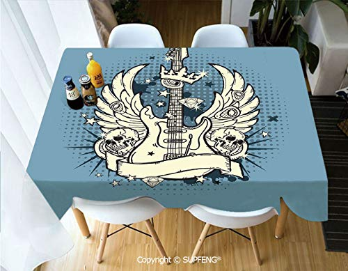 Rectangular tablecloth Rock n Roll Composition Crown Wings Skulls Stars on Retro Grunge Backdrop (60 X 120 inch) Great for Buffet Table, Parties, Holiday Dinner, Wedding & More.Desktop decoration.Pol]()