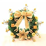 Christmas Garland for Stairs fireplaces Christmas Garland Decoration Xmas Festive Wreath Garland with Christmas wreath Golden rattan wreath Christmas,60cm
