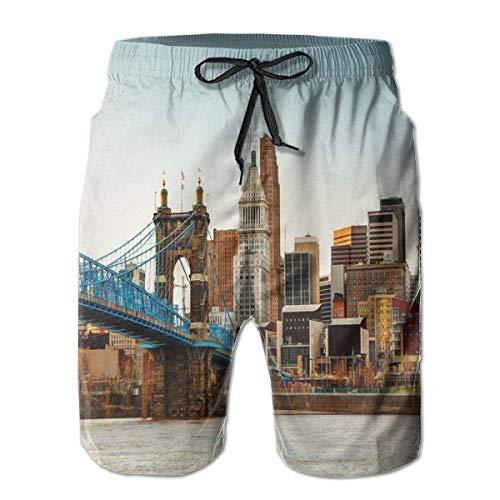 GULTMEE Men Swim Trunks Beach Shorts,Painting Like Picture Citylife Evening Panoramic Gorgeous Illustration Print XL