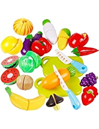 Get 6pcs Role Play Fruit Vegetable Food Cutting Set Reusable Pretend Kitchen mw deal