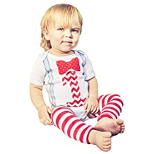 First Baby Boys Birthday Outfit Suspenders Bowtie Leg Warmers Set Cake Smash