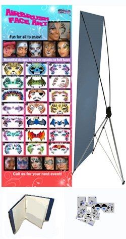 Face Painting Stencils - StencilEyes - Set of 20 Full Face Stencils w/Banner & Binder